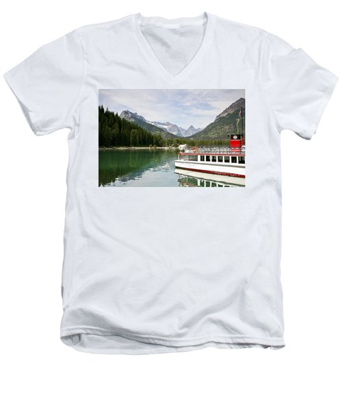 Men's V-Neck T-Shirt featuring the photograph Upper Waterton Lakes by Teresa Zieba