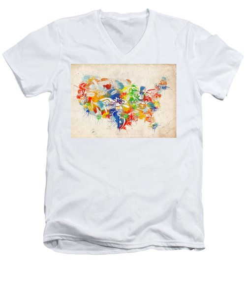 Usa Nfl Map Collage 12 Men's V-Neck T-Shirt