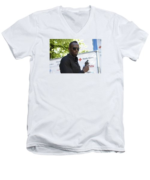 Men's V-Neck T-Shirt featuring the photograph Usain Bolt - The Legend 4 by Teo SITCHET-KANDA