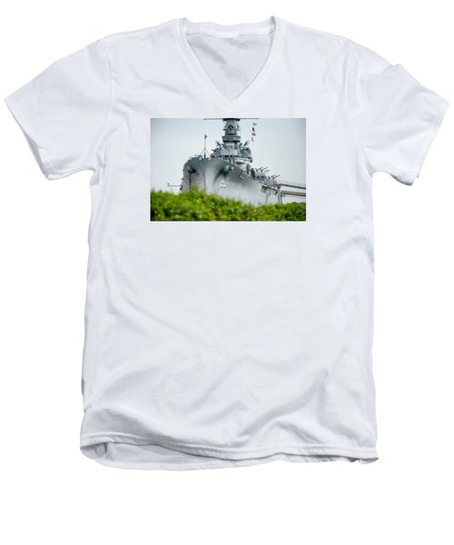 Men's V-Neck T-Shirt featuring the photograph Uss Alabama 2 by Susan  McMenamin