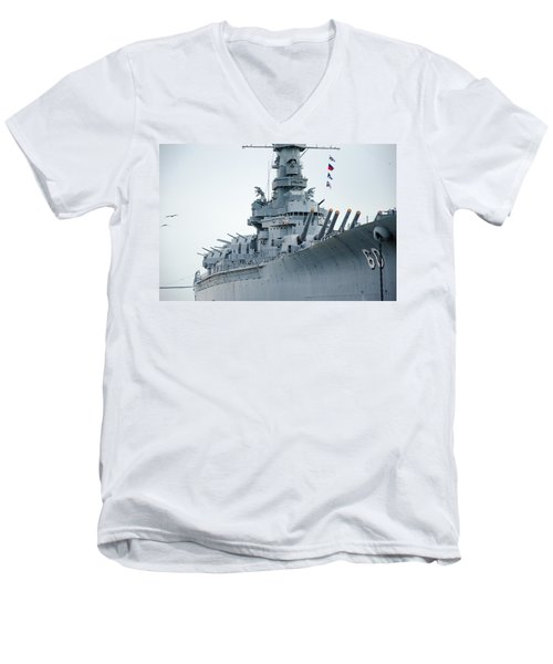 Men's V-Neck T-Shirt featuring the photograph Uss Alabama 3 by Susan  McMenamin