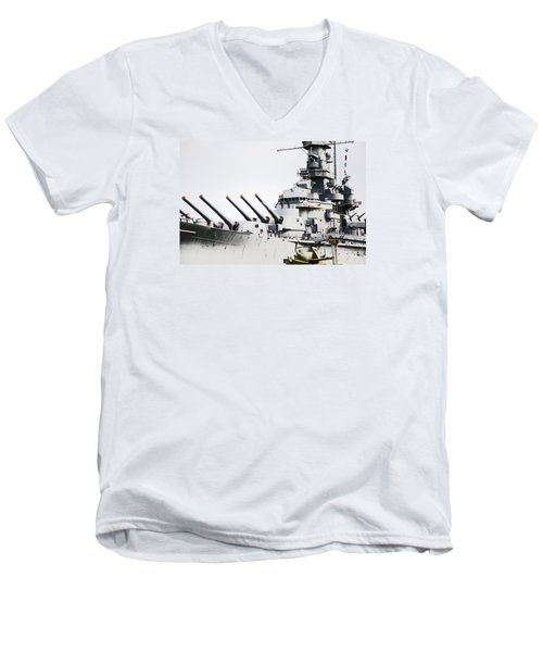 Men's V-Neck T-Shirt featuring the photograph Uss Alabama by Susan  McMenamin
