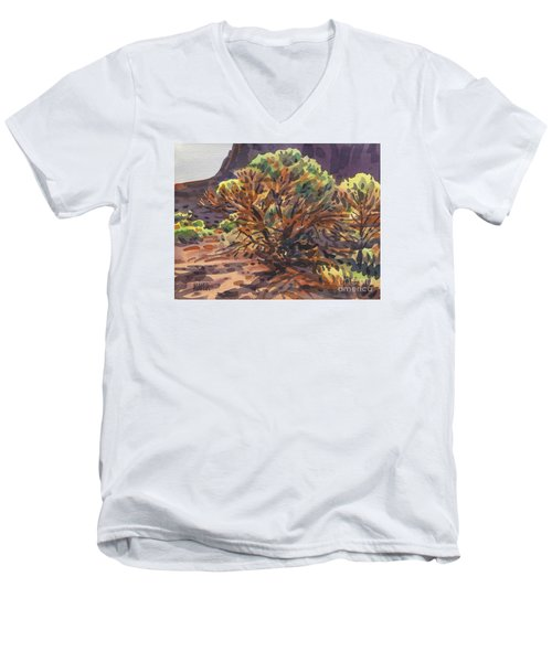 Men's V-Neck T-Shirt featuring the painting Utah Juniper by Donald Maier