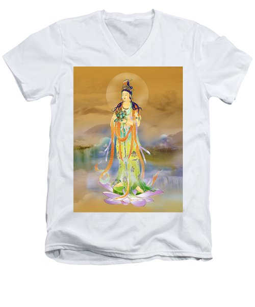 Vaidurya  Kuan Yin Men's V-Neck T-Shirt by Lanjee Chee