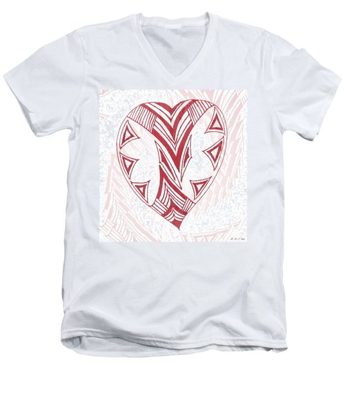 Valentine Heart Men's V-Neck T-Shirt by Amanda Holmes Tzafrir