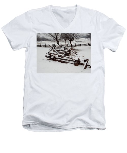 Valley Forge Snow Men's V-Neck T-Shirt by Michael Porchik