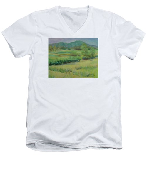 Valley Ranch Rural Western Landscape Painting Oregon Art  Men's V-Neck T-Shirt by Elizabeth Sawyer