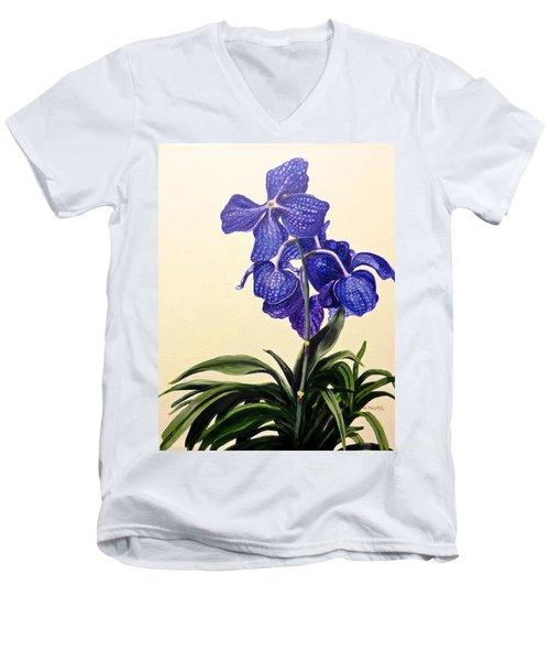 Vanda Sausai Blue Orchid Men's V-Neck T-Shirt