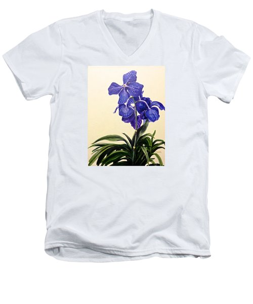 Vanda Sausai Blue Orchid Men's V-Neck T-Shirt