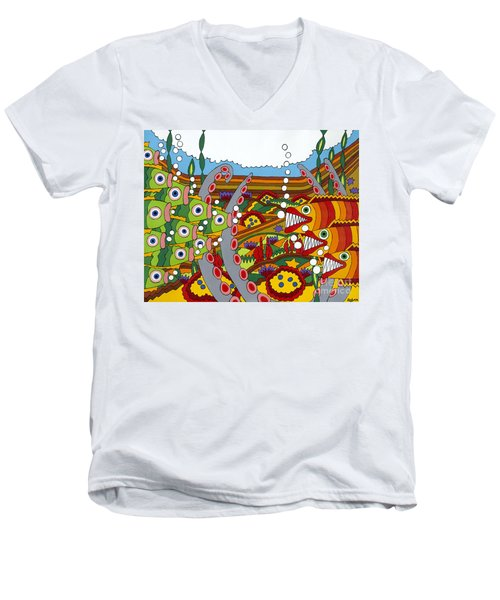 Vegetarians And Meat Eaters Men's V-Neck T-Shirt by Rojax Art