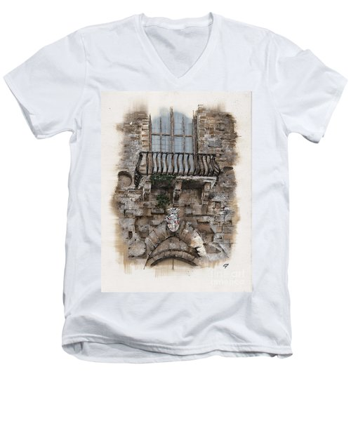 Men's V-Neck T-Shirt featuring the painting Venetian Balcony 02 Elena Yakubovich by Elena Yakubovich