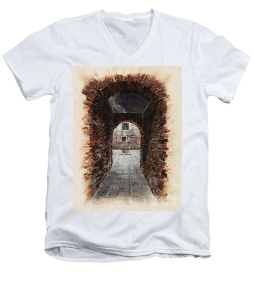 Men's V-Neck T-Shirt featuring the painting Venetian Courtyard 01 Elena Yakubovich by Elena Yakubovich