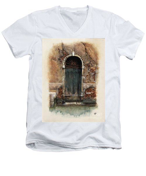 Men's V-Neck T-Shirt featuring the painting Venetian Door 01 Elena Yakubovich by Elena Yakubovich