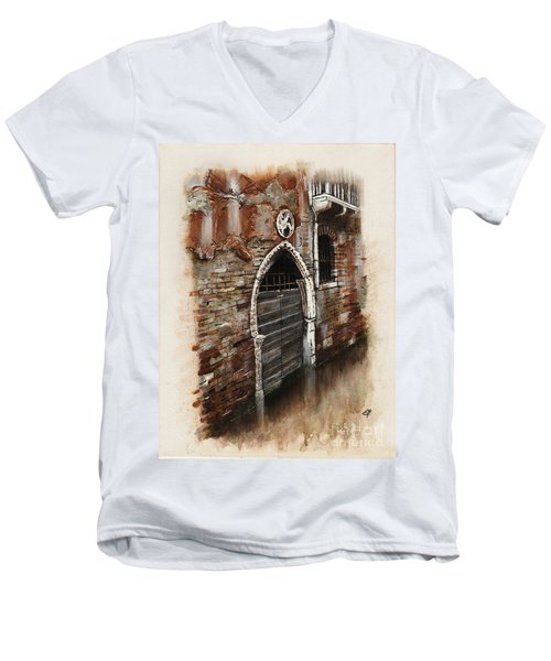 Men's V-Neck T-Shirt featuring the painting Venetian Door 03 Elena Yakubovich by Elena Yakubovich