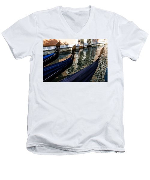 Men's V-Neck T-Shirt featuring the photograph Venetian Gondolas by Georgia Mizuleva
