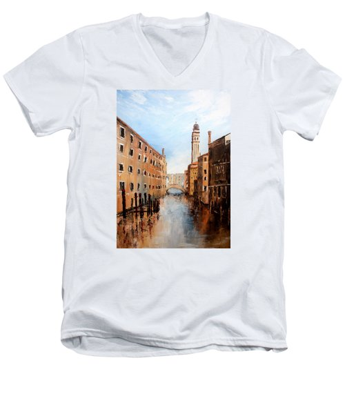 Men's V-Neck T-Shirt featuring the painting Venice Italy by Jean Walker