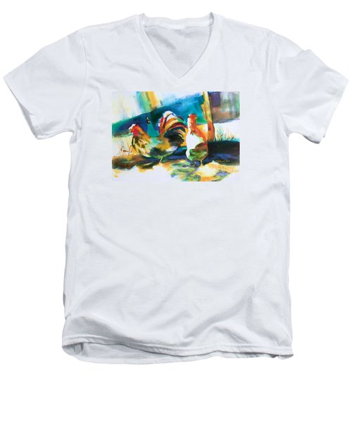 Men's V-Neck T-Shirt featuring the painting Veridian Chicken by Kathy Braud