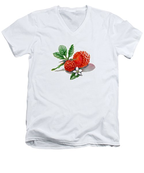 Artz Vitamins A Very Happy Raspberry Men's V-Neck T-Shirt by Irina Sztukowski