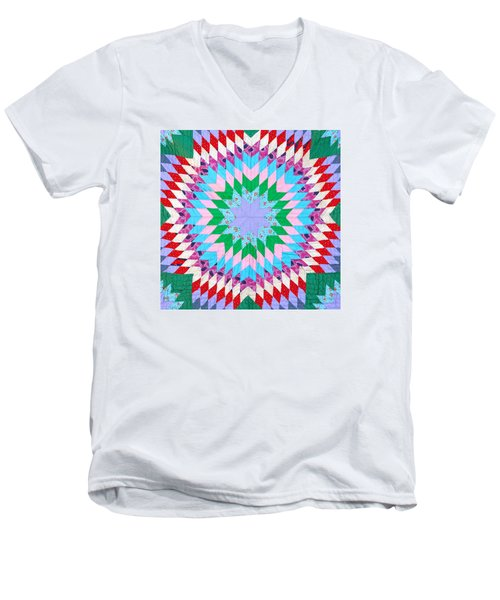 Vibrant Quilt Men's V-Neck T-Shirt by Art Block Collections