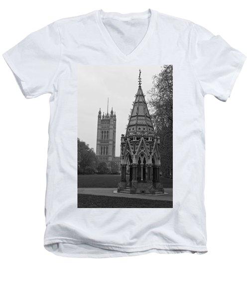 Men's V-Neck T-Shirt featuring the photograph Victoria Tower Garden by Maj Seda