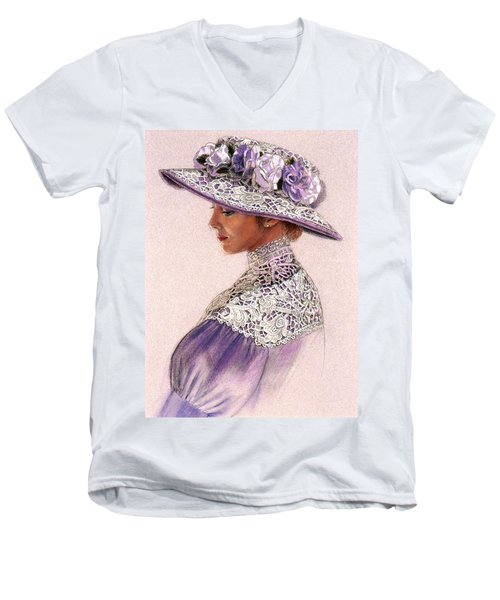 Victorian Lady In Lavender Lace Men's V-Neck T-Shirt