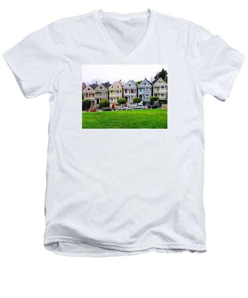 San Francisco Architecture Men's V-Neck T-Shirt by Oleg Zavarzin