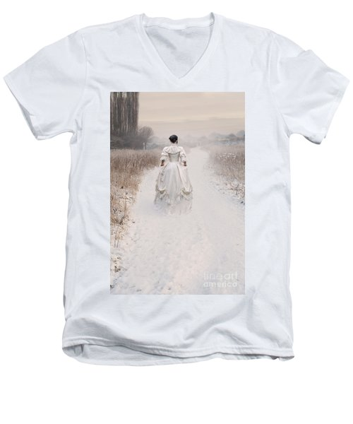 Victorian Woman Walking Through A Winter Meadow Men's V-Neck T-Shirt by Lee Avison