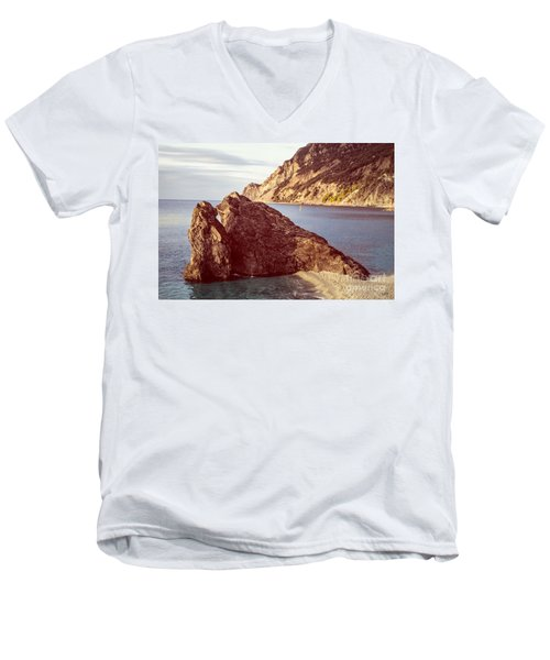 View From Beach Of Monterosso Men's V-Neck T-Shirt