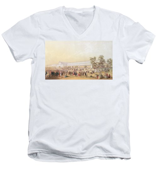View Of The Crystal Palace Men's V-Neck T-Shirt by George Baxter