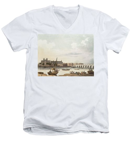 View Of Westminster And The Bridge Wc On Paper Men's V-Neck T-Shirt by English School