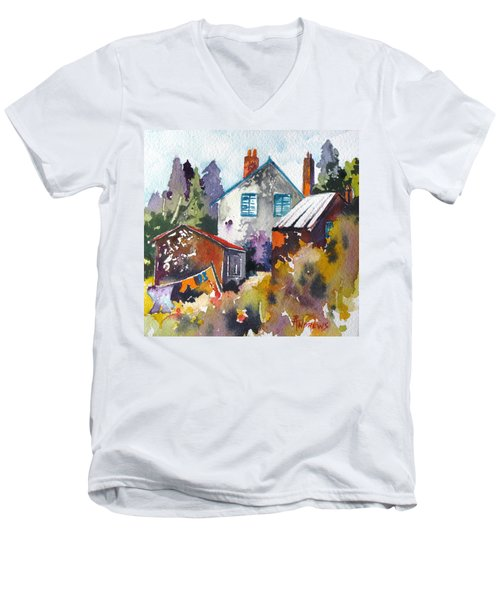 Men's V-Neck T-Shirt featuring the painting Village Life 1 by Rae Andrews