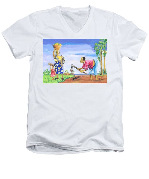 Men's V-Neck T-Shirt featuring the painting Village Life In Cameroon 01 by Emmanuel Baliyanga