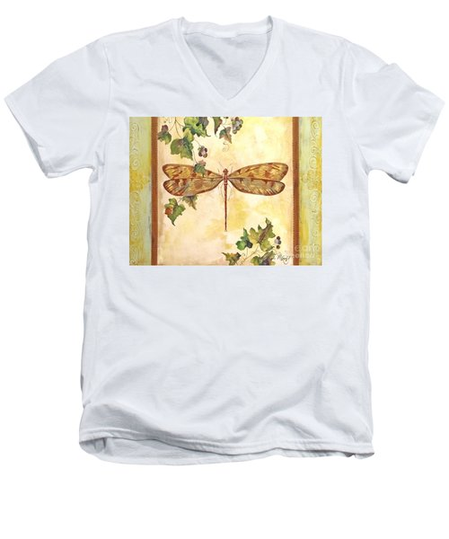 Vineyard Dragonfly Men's V-Neck T-Shirt by Jean Plout