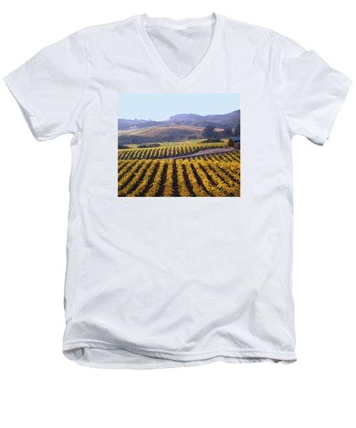 6b6386-vineyard In Autumn Men's V-Neck T-Shirt