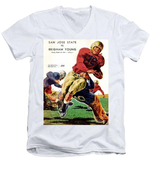 Vintage American Football Poster Men's V-Neck T-Shirt