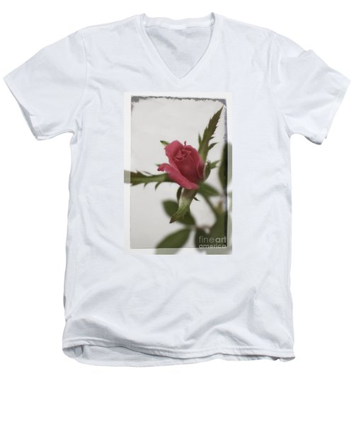 Men's V-Neck T-Shirt featuring the photograph Vintage Antique Rose by Ella Kaye Dickey