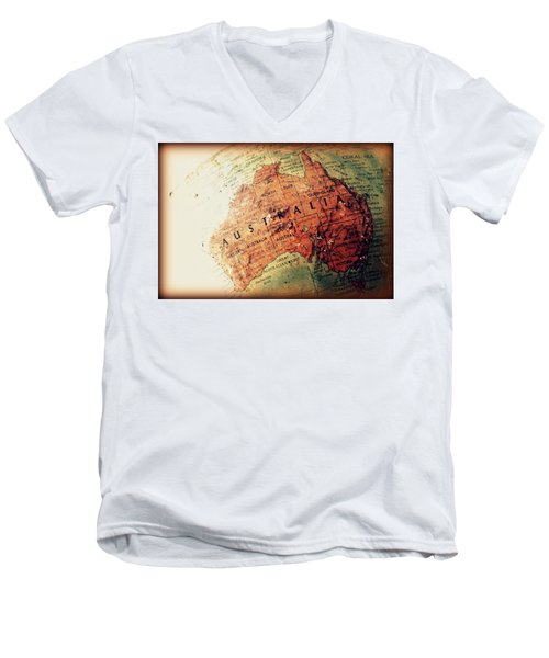 Men's V-Neck T-Shirt featuring the photograph Vintage Australia by Faith Williams