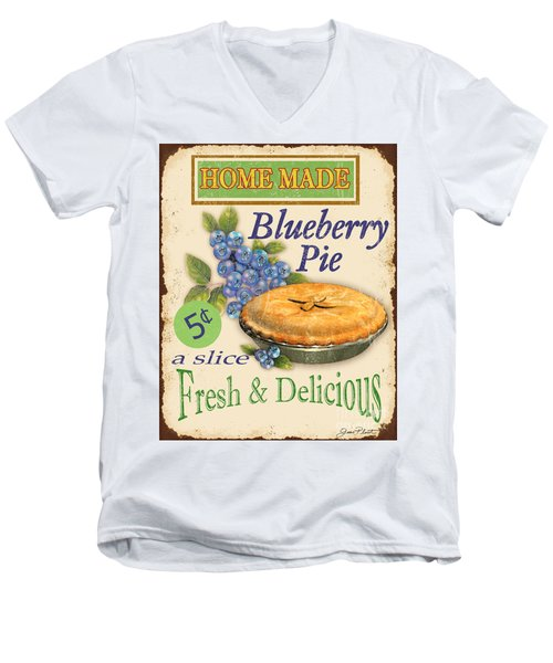 Vintage Blueberry Pie Sign Men's V-Neck T-Shirt by Jean Plout