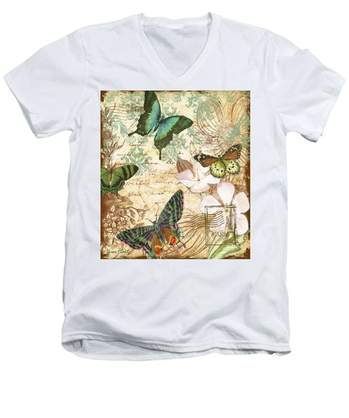 Vintage Butterfly Kisses  Men's V-Neck T-Shirt by Jean Plout