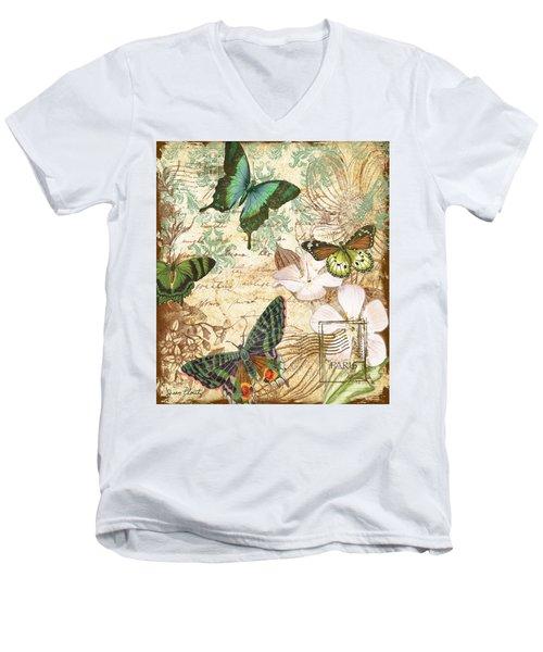 Vintage Butterfly Kisses  Men's V-Neck T-Shirt