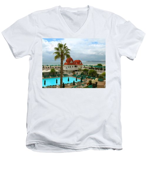 Vintage Cabana At The Del Men's V-Neck T-Shirt by Connie Fox