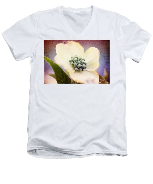 Men's V-Neck T-Shirt featuring the photograph Vintage Dogwood Blossom by Trina  Ansel