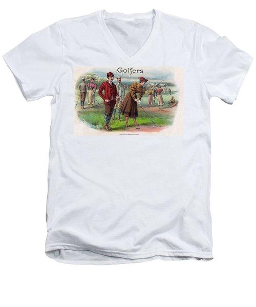 Men's V-Neck T-Shirt featuring the digital art Vintage Golfers by Maciek Froncisz