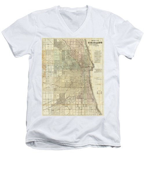 Vintage Map Of Chicago - 1857 Men's V-Neck T-Shirt
