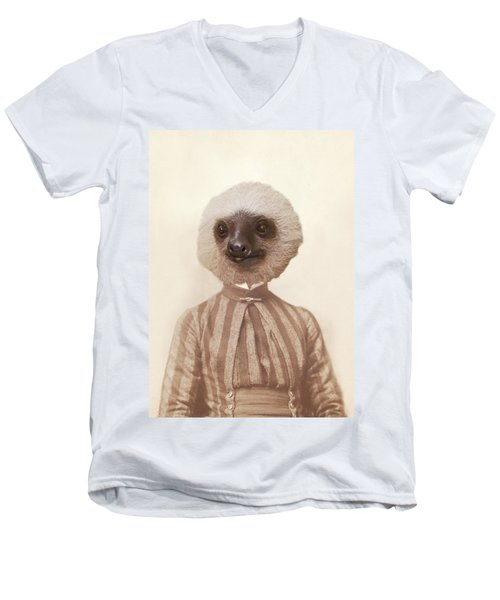 Vintage Sloth Girl Portrait Men's V-Neck T-Shirt by Brooke T Ryan