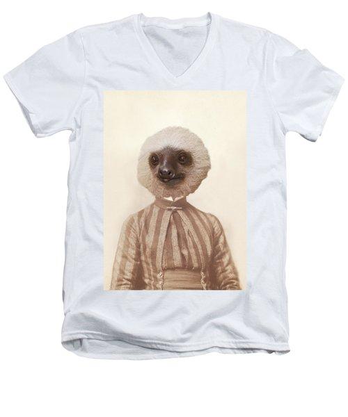 Vintage Sloth Girl Portrait Men's V-Neck T-Shirt