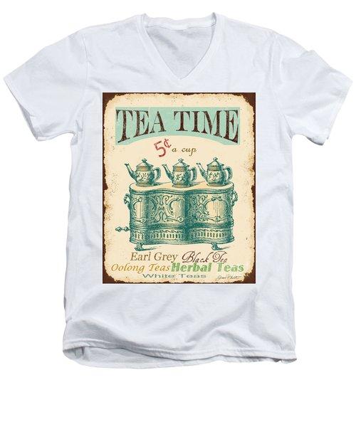 Vintage Tea Time Sign Men's V-Neck T-Shirt