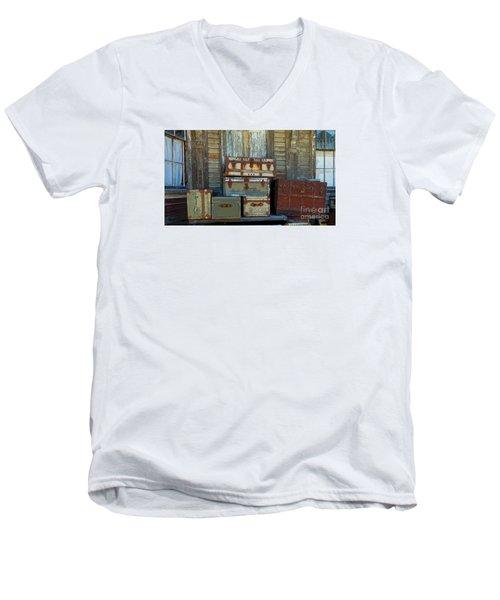 Vintage Trunks   Sold Men's V-Neck T-Shirt by Marcia Lee Jones