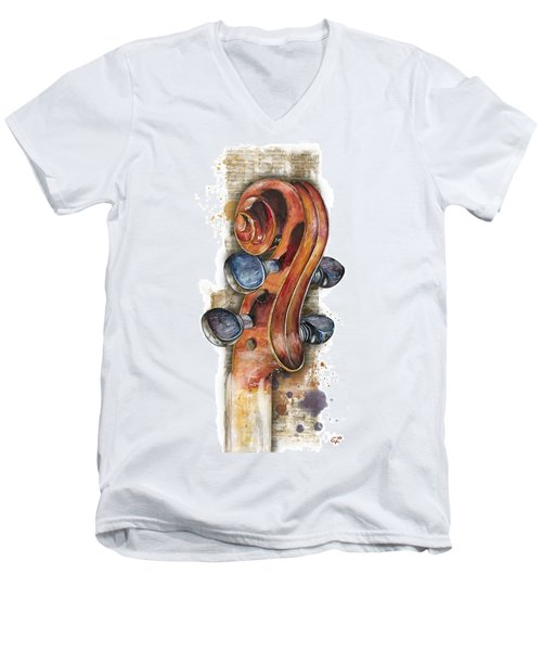 Violin 02 Elena Yakubovich Men's V-Neck T-Shirt by Elena Yakubovich
