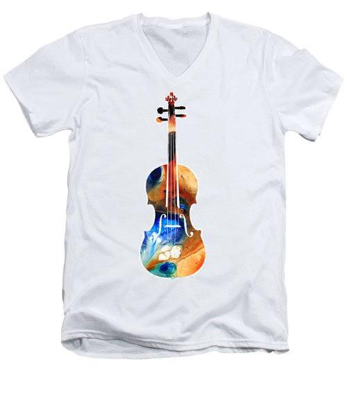 Violin Art By Sharon Cummings Men's V-Neck T-Shirt